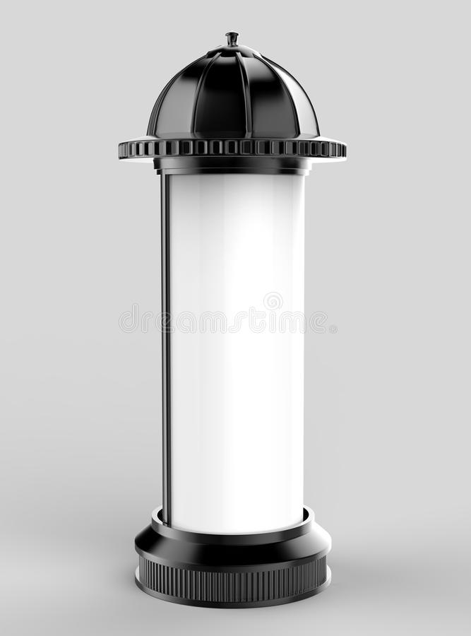 Black White outdoor retro style street Poster Stand Pillar column for Outdoor Advertising Isolated on White Background. 3d illust. Black White outdoor retro vector illustration