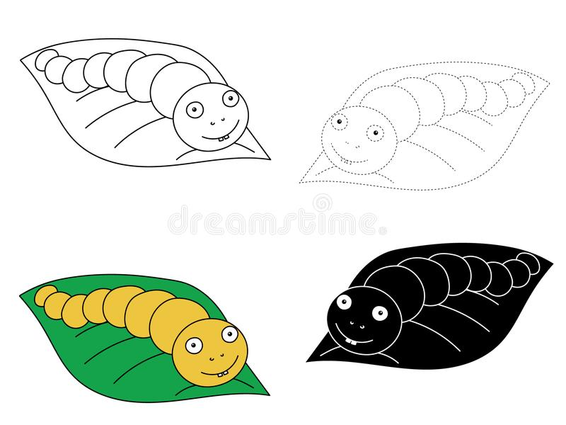 Hand drawn illustration of four caterpillars on a leaf vector illustration