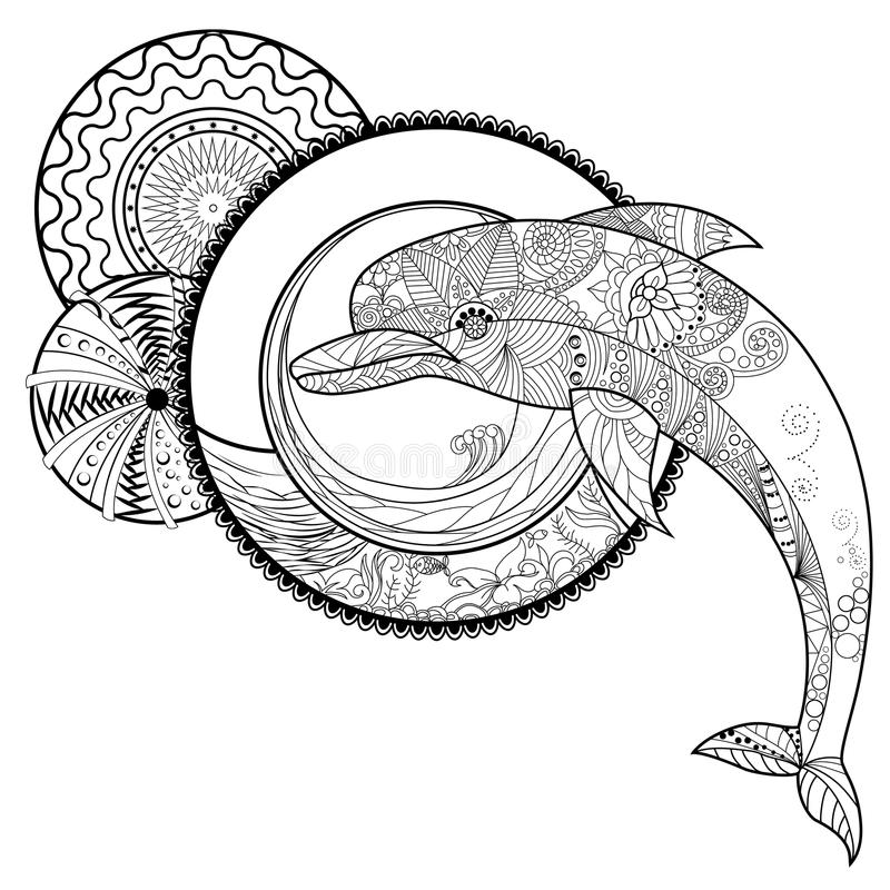 Black and white outline drawing of a dolphin with an abstract pa download black and white outline drawing of a dolphin with an abstract pa stock vector thecheapjerseys Choice Image
