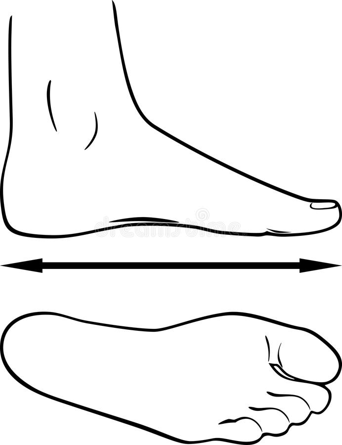 Black and white outline of the foot royalty free stock photo