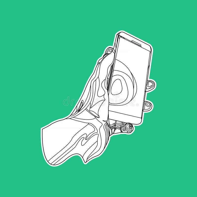 Black and white outline hand holding mobile phone sticker. stock illustration