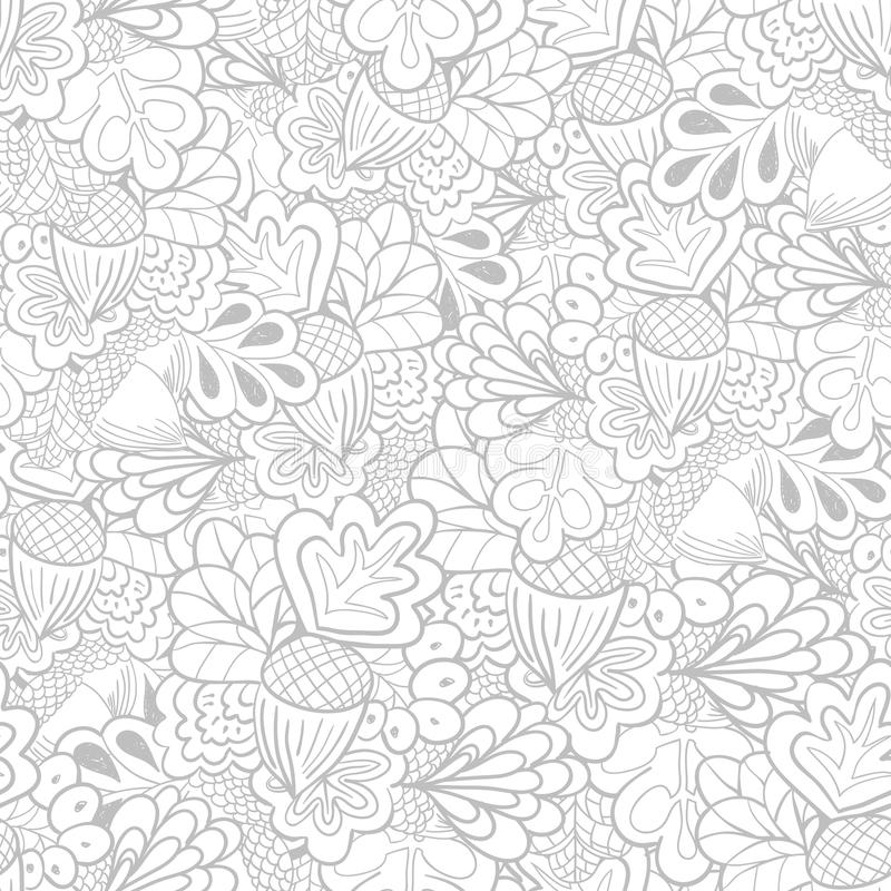 Black and white outline oak elements seamless pattern. Outline oak elements seamless pattern. Black and white background royalty free illustration