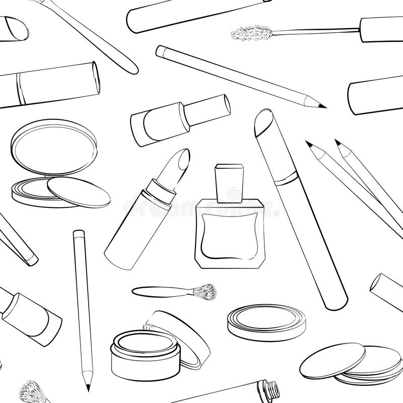 Black and white outline. Seamless pattern with hand drawn cosmetics collection royalty free illustration