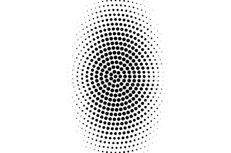 Black on white oval halftone texture. Rough dotwork gradient. Distressed dotted vector background. Monochrome halftone overlay. Vintage cartoon effect royalty free illustration