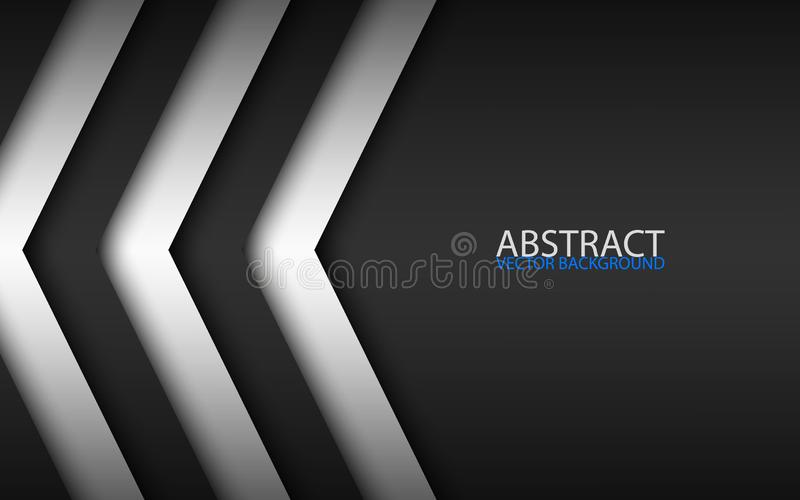 Black and white overlayed arrows, abstract modern vector background with place for your text, material design stock illustration