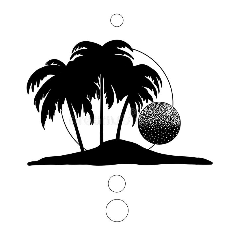Black and white palm trees royalty free stock photography