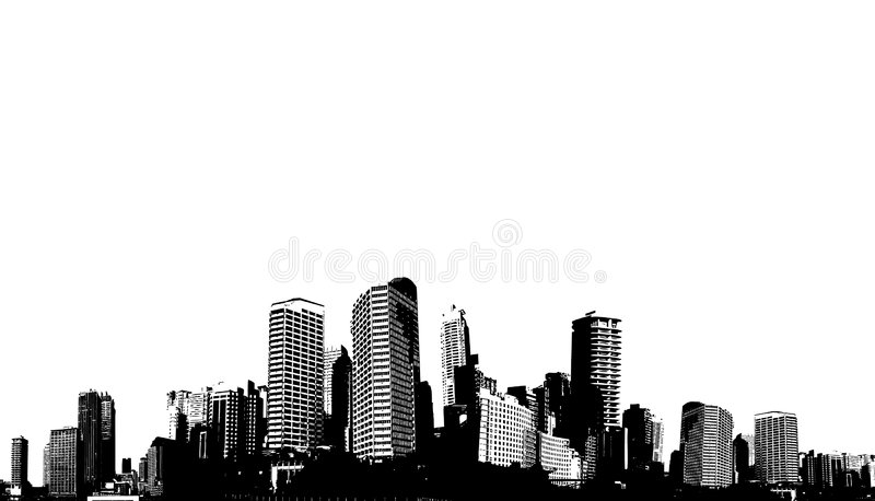 Black and white panorama city. royalty free illustration