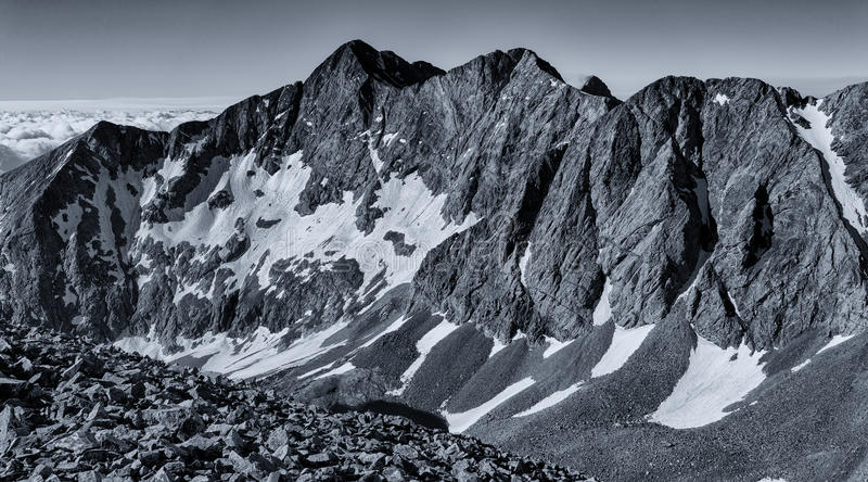 Black & White Panorama - Colorado Rocky Mountains, Sangre de Cristo Range. B&W Photograph of the Colorado Rocky Mountains of the Sangre de Cristo range stock photography