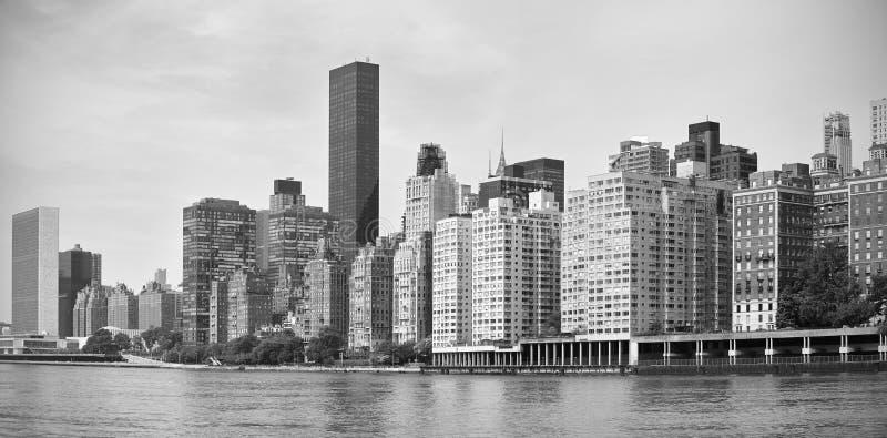 Black and white panorama of Midtown New York. Black and white panorama of Midtown New York City waterfront, USA stock photo