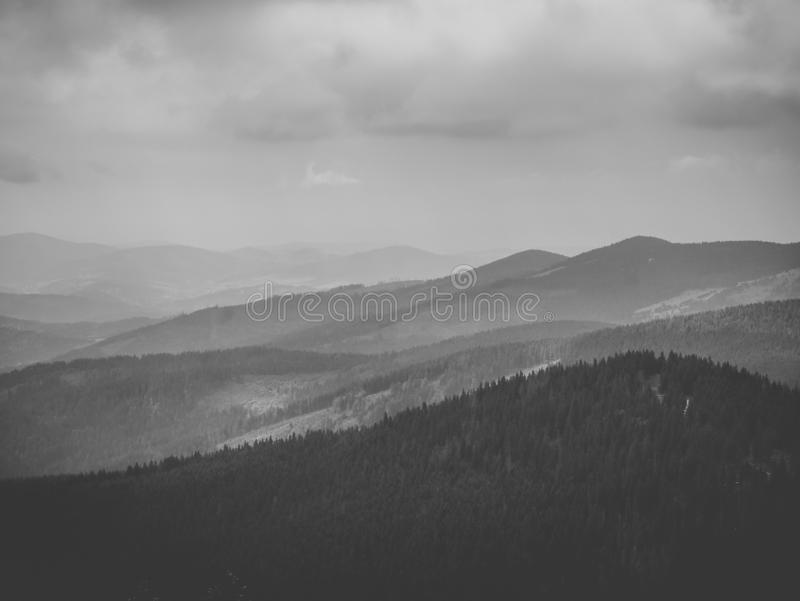 Black and white panorama of the mountains royalty free stock photography