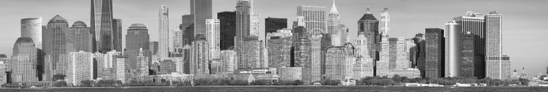 Black and white panoramic view of Downtown Manhattan, New York royalty free stock photo