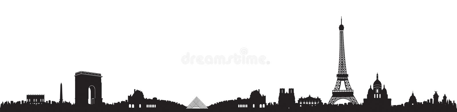 Black and White Paris Skyline Silhouette. Background vector illustration
