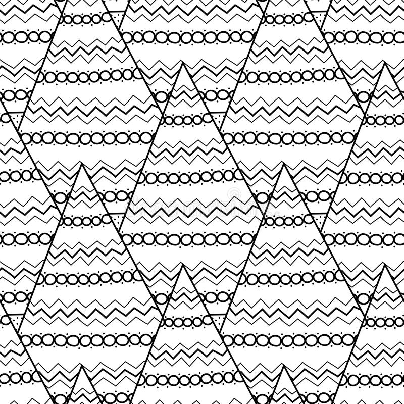 Black And White Pattern With Christmas Trees For Coloring Book ...