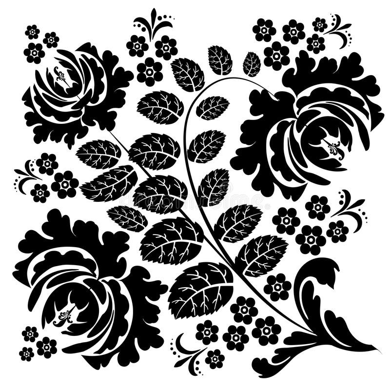 Black-and-white pattern of wild rose royalty free stock photo