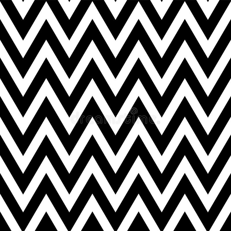 Black and white pattern in zigzag. Classic chevron seamless pattern. stock illustration