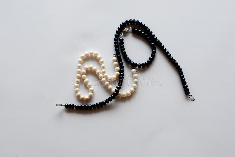 Black and white pearls royalty free stock photo