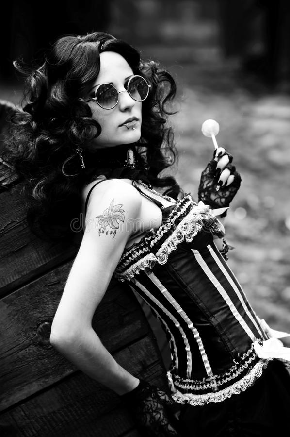 Download Black-and-white Photo Of The Beautiful Girl Stock Image - Image: 17450457