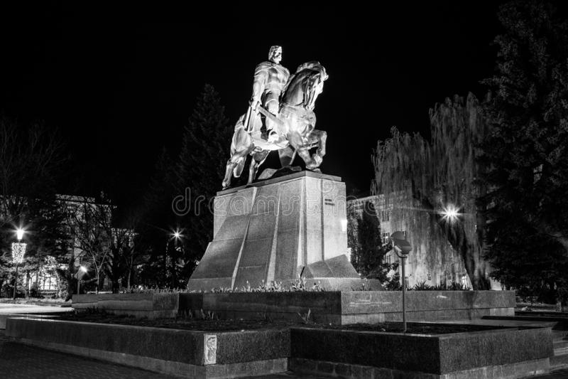 Bohdan Khmelnytsky monument in city centre Ternopil, Ukraine. Black and white photo of Bogdan Chmielnicki monument in city centre Ternopil, Ukraine. Bohdan royalty free stock images
