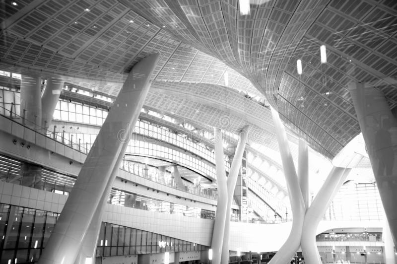 Black and white photo,Building,Hong Kong High Speed Rail West Kowloon Terminus. Black and white photo,Jordan, West Kowloon Hong Kong, Kowloon-Canton Railway stock images