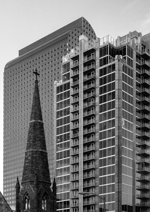 City Skyline with Different Architectural Styles. Black and white photo of city skyline with different architectural styles and functions royalty free stock photo