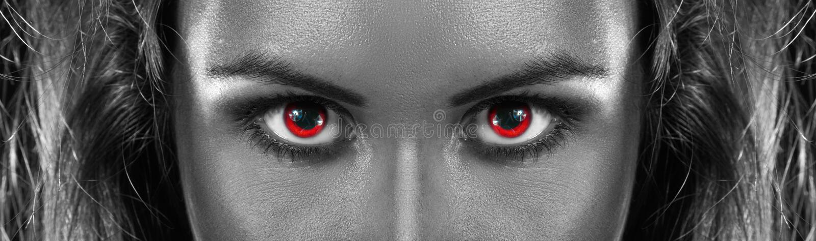 Download Black And White Photo Of Girl With Red Eyes Stock Photo - Image of people, glamour: 32831912