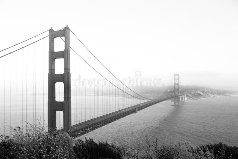 Black and white photo of the golden gate bridge. San Francisco royalty free stock images