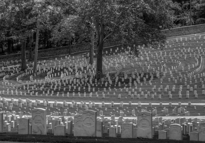 Headstones at Marietta National Cemetery, Marietta, GA. Black and white photo of headstones at the Marietta National Cemetery. Marietta, GA stock photo