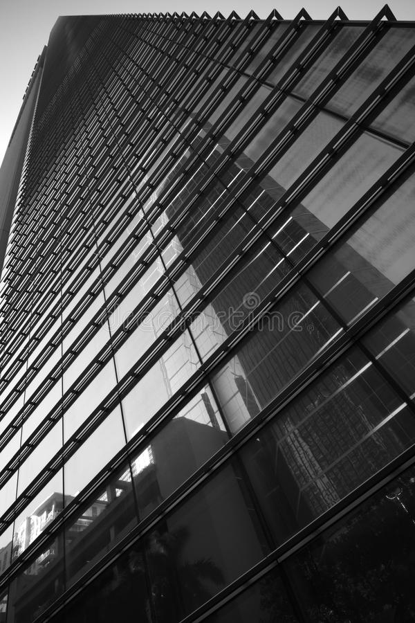 Black and white photo highrise skyscraper. Black and white image of a highrise skyscraper royalty free stock images