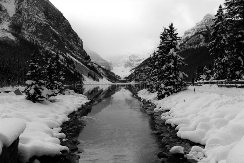 Black and White photo of Lake Louise in Banff, Alberta stock photos