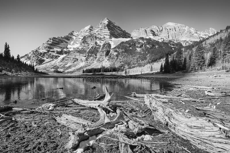 Black and white photo of Maroon Bells landscape, Colorado, USA. royalty free stock photography