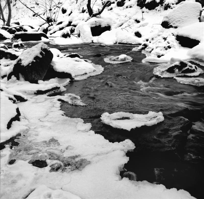 Melting Snow in a Creek in Maryland. Black and white photo of melting snow in a creek in northern maryland during february. This is a scan from medium format royalty free stock image