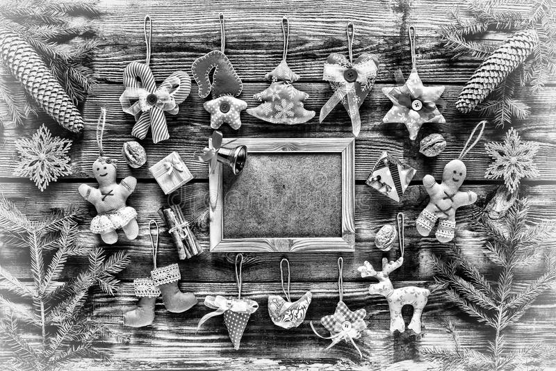Black and white photo. New Year. Christmas toys homemade and decoration, royalty free stock photos