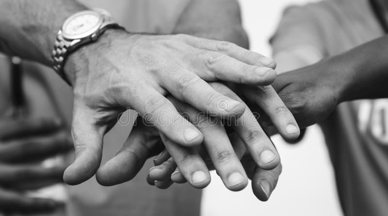 Black and White Photo of Person's Hands royalty free stock images