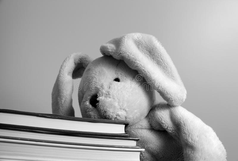 Black and white photo of a plush toy resting its head on a pile of books. stock image