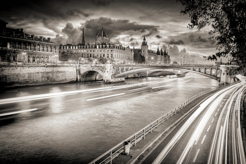 Black and White photo of river Seine in Paris, France. stock images