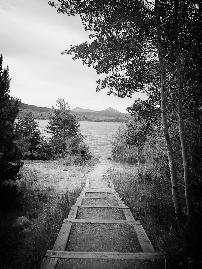 Black and white photo of steps down to a lake. stock photo