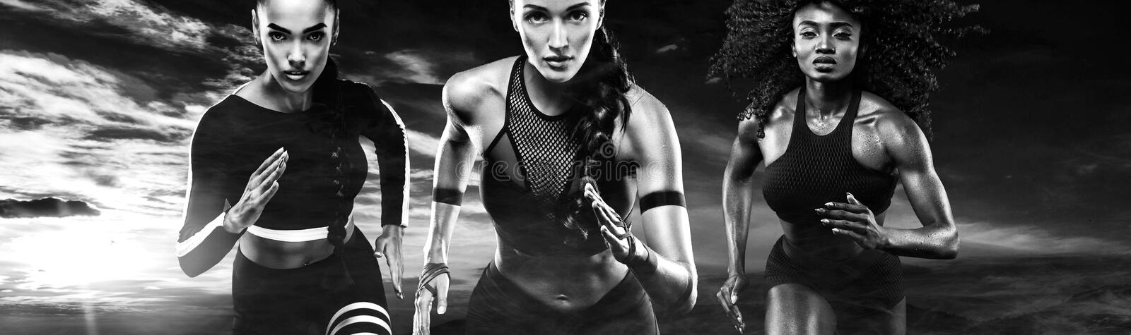Black and white photo. A strong athletic, women sprinter, running outdoor wearing in the sportswear, fitness and sport royalty free stock image