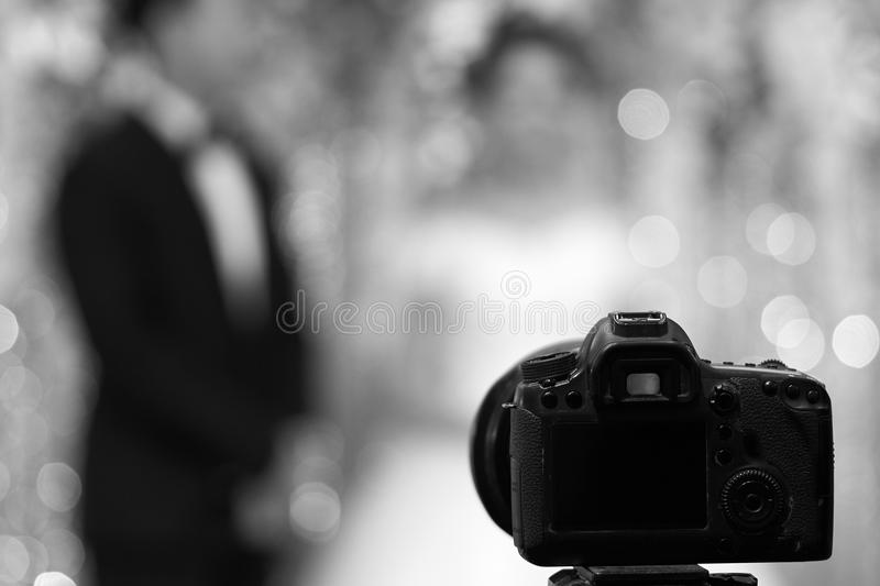 Black and white photo taken from the old camera. The backdrop is blurred and has a contemporary bokeh effect. using as background royalty free stock images