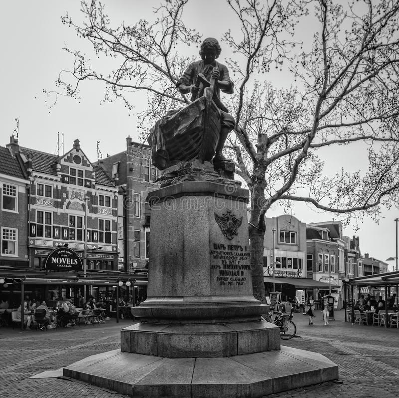 Black and white photo of the Tsar Peter statue in the center of Zaandam royalty free stock photo