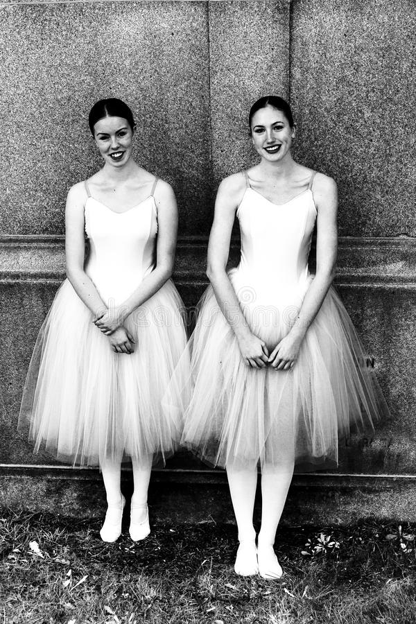 Students from l'École supérieure de ballet du Québec standing. Black and white photo of two students from l'École supérieure de royalty free stock images