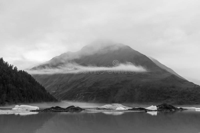 Valdez Glacier Lake and valley in Alaska stock photos
