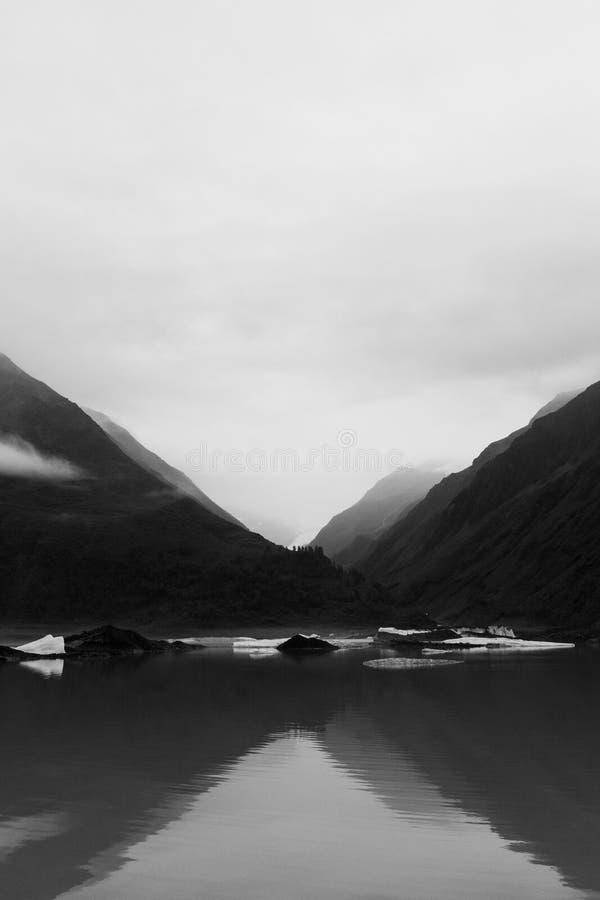 Valdez Glacier Lake and valley in Alaska stock images