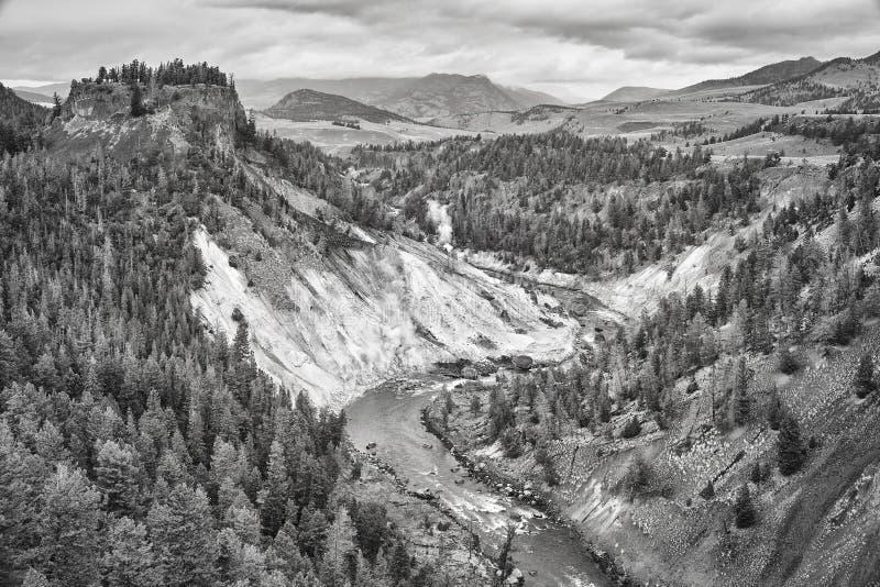 Black and white photo of Yellowstone National Park, USA. Black and white photo of Yellowstone National Park, Wyoming, USA stock photo