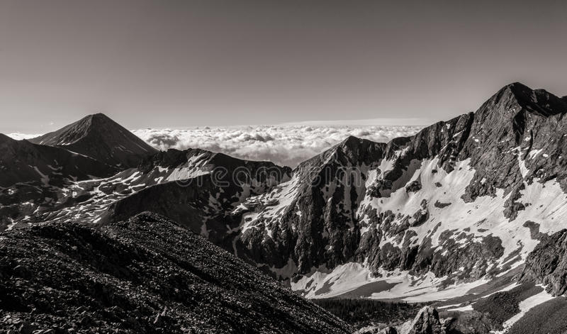 Black & White Photograph - Colorado Rocky Mountains, Sangre de Cristo Range. B&W Photograph of the Colorado Rocky Mountains stock images