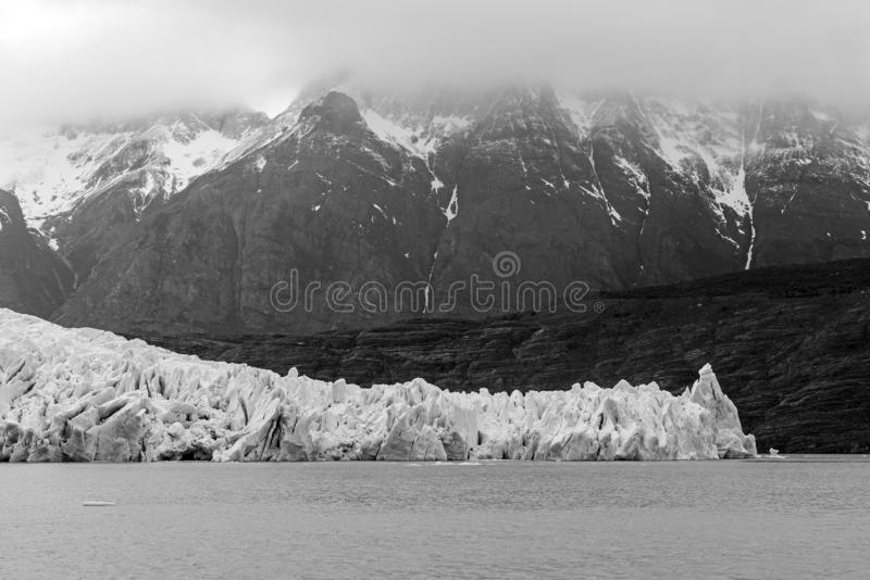 Grey Glacier and Andes Mountains, Patagonia, Chile royalty free stock photography