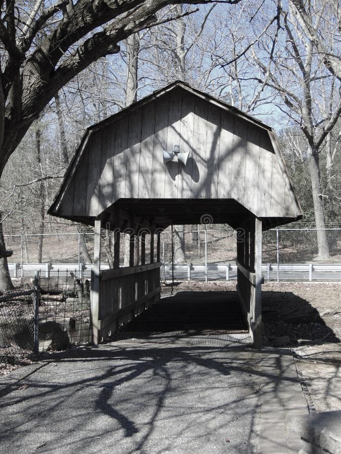 Black and White of Covered Bridge stock image