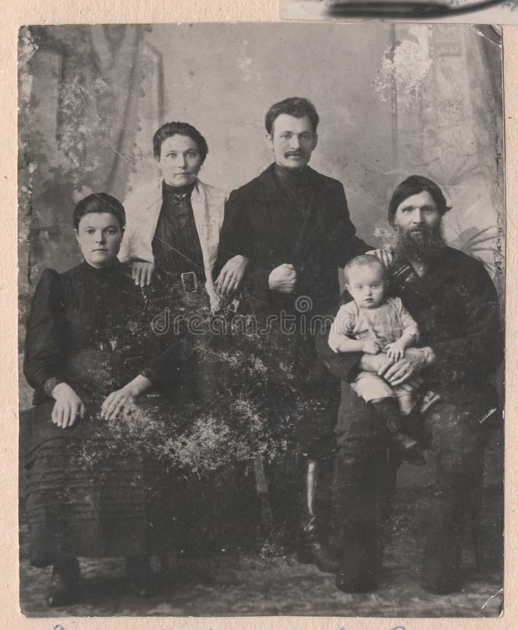 Black and white photographs old Russian family. stock images