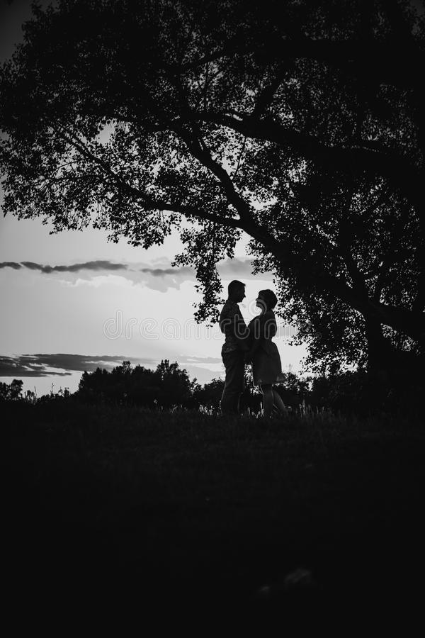 Black white photography romantic couple standing and kissing on background summer meadow. Sunset stock images