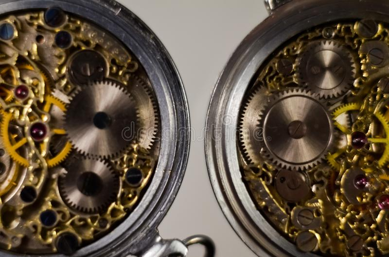 Black and white photography. Skeleton hours. Antique antique clockwork, jewelry engraving. mechanical pocket watch close-up, selec. Tive focus royalty free stock photography
