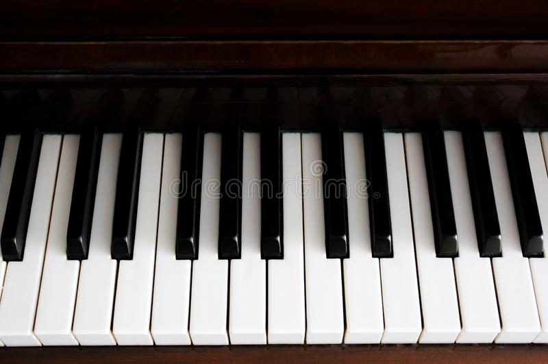 Black and white piano keys in perspective stock photos